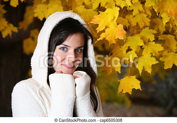 bonito, outono, mulher, parque, jovem - csp6505308