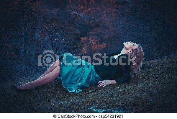 bonito, outono, mulher, parque, loura - csp54231921
