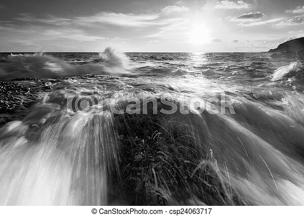 bonito, pedra, pretas, pôr do sol, praia branca - csp24063717