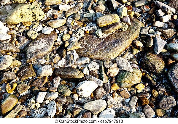 bonito, pedras, praia, interessante, harmonic, luz solar, pedras, estrutura - csp7947918