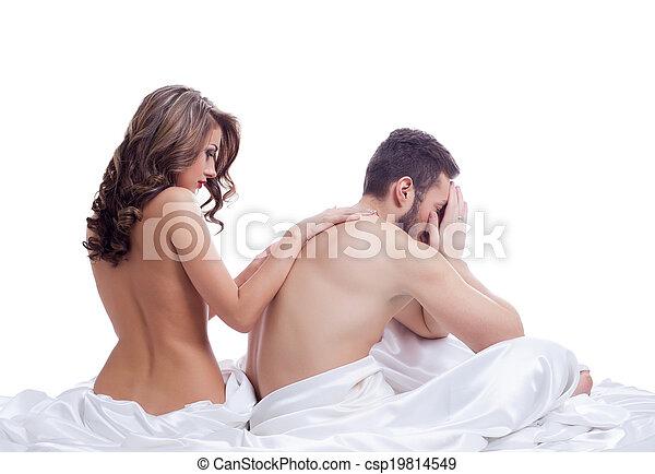 bonito, pelado, soothes, amante, menina, frustrado - csp19814549