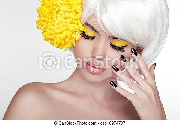 bonito, perfeitos, conceito, dela, beleza, face., spa, tocar, juventude, skin., mulher, portrait., model., puro, pele, fresco, cuidado - csp16974707