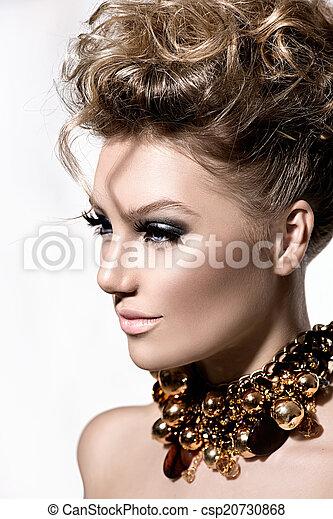 bonito, perfeitos, penteado, moda, maquilagem, modelo, menina - csp20730868