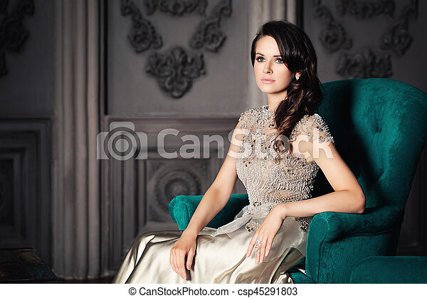 bonito, poltrona, assento mulher - csp45291803