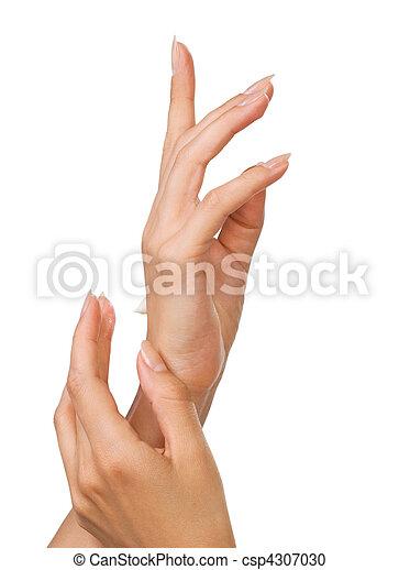 bonito, pregos, mulher, dedos - csp4307030