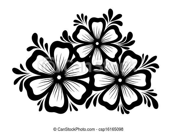 Bonito Preto E Branco Elemento Desenho Retro Floral Folhas Flores Style Element