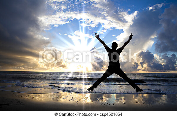 bonito, pular, feliz, praia, amanhecer, homem - csp4521054