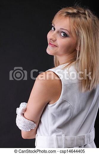 bonito, retrato, branca, mulher, luvas - csp14644405
