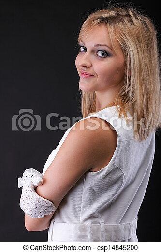 bonito, retrato, branca, mulher, luvas - csp14845200