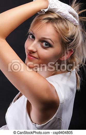 bonito, retrato, branca, mulher, luvas - csp9404805