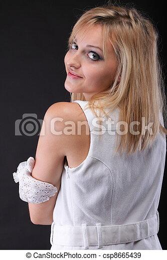 bonito, retrato, branca, mulher, luvas - csp8665439