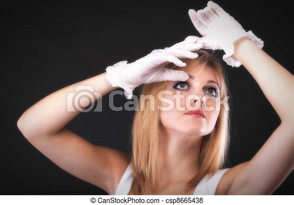 bonito, retrato, branca, mulher, luvas - csp8665438