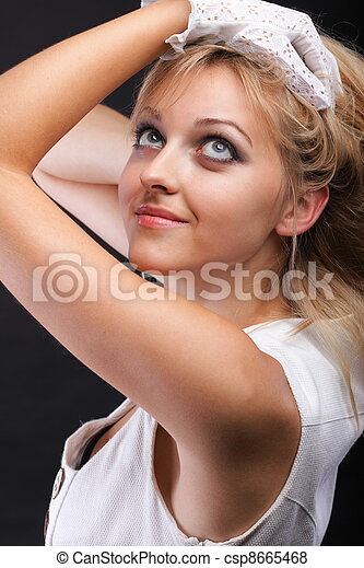 bonito, retrato, branca, mulher, luvas - csp8665468