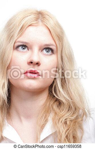 bonito, retrato, loiro, mulher - csp11659358