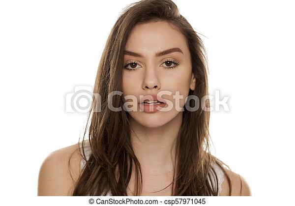 bonito, retrato, mulher, jovem - csp57971045