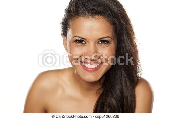 bonito, retrato, mulher, jovem - csp51260208