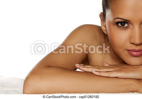 bonito, retrato, mulher, jovem - csp51260192