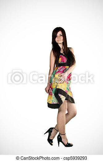 bonito, retrato, vestido, mulher, moda - csp5939293