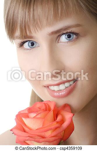 bonito, rosa, mulher, isolado, sorrizo - csp4359109