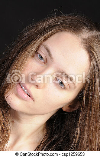 bonito, russo, mulher, closeup - csp1259653