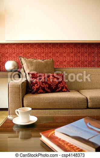 bonito, sala de estar, hotel, desenho, interior, conjunto - csp4148373
