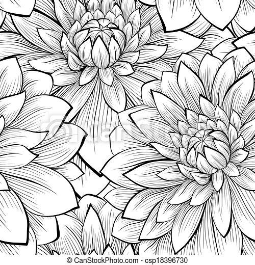 bonito, seamless, experiência preta, monocromático, flores brancas - csp18396730