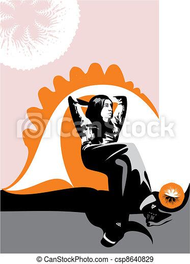 bonito, sentando, abstratos, fundo, pensativamente, menina - csp8640829