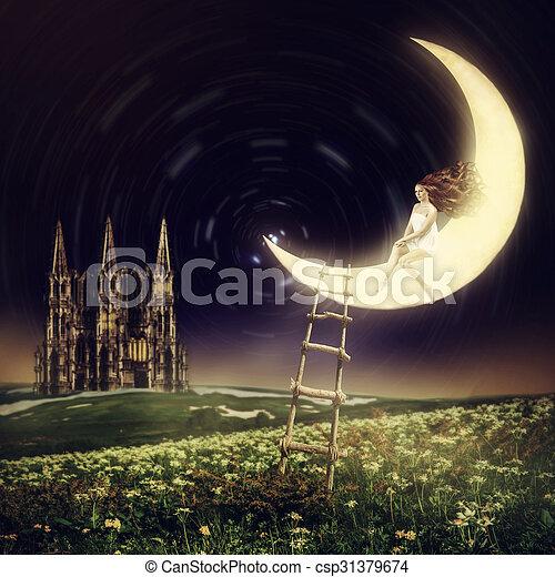 bonito, sentando, mulher, lua - csp31379674