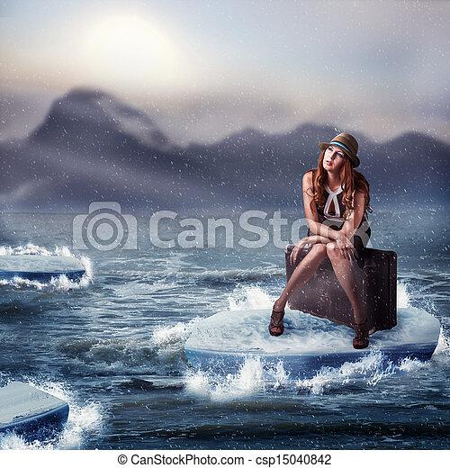 bonito, sentando, mulher, mala - csp15040842