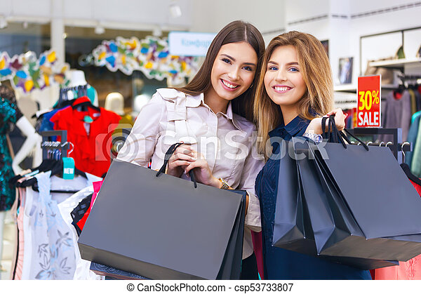 bonito, shopping., tiro, jovem, ir, mulheres - csp53733807