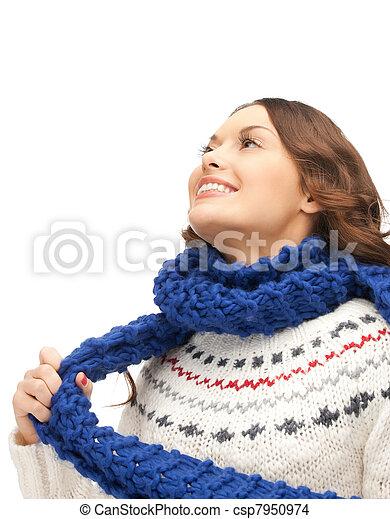 bonito, silenciador, mulher - csp7950974