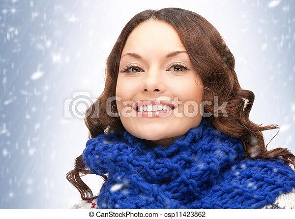 bonito, silenciador, mulher - csp11423862