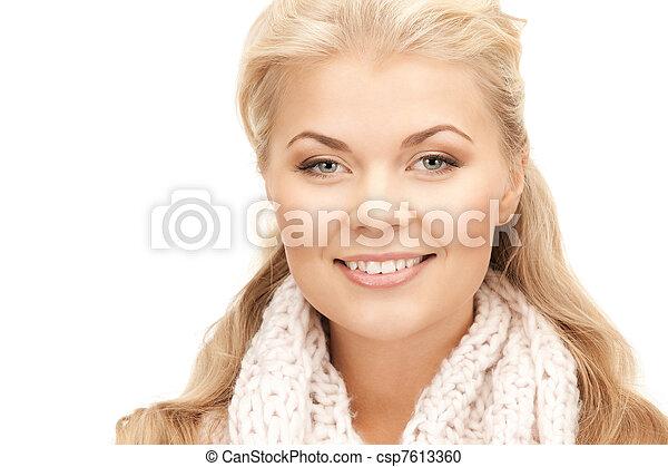 bonito, silenciador, mulher - csp7613360