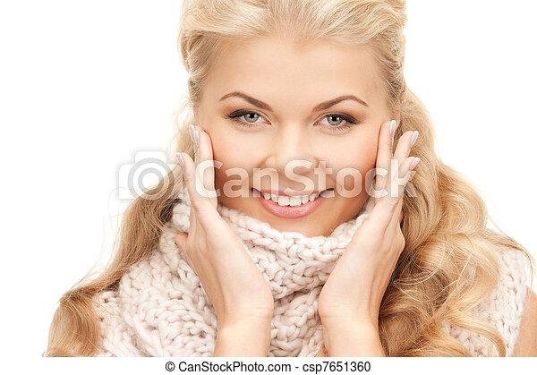 bonito, silenciador, mulher - csp7651360