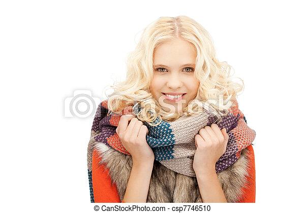 bonito, silenciador, mulher - csp7746510