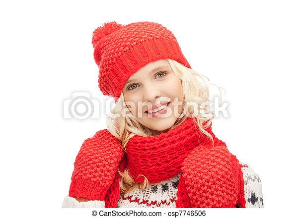 bonito, silenciador, mulher, chapéu, mittens - csp7746506
