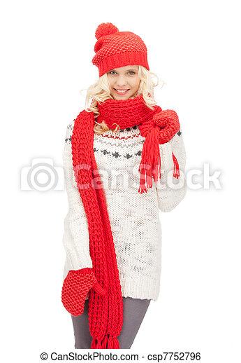 bonito, silenciador, mulher, chapéu, mittens - csp7752796