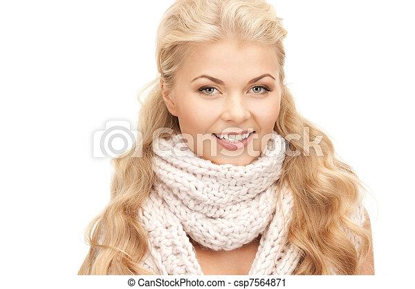 bonito, silenciador, mulher - csp7564871