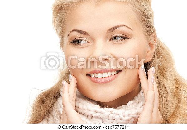 bonito, silenciador, mulher - csp7577211