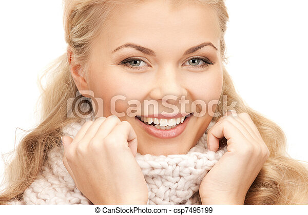 bonito, silenciador, mulher - csp7495199