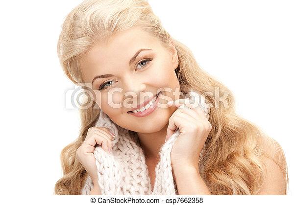 bonito, silenciador, mulher - csp7662358