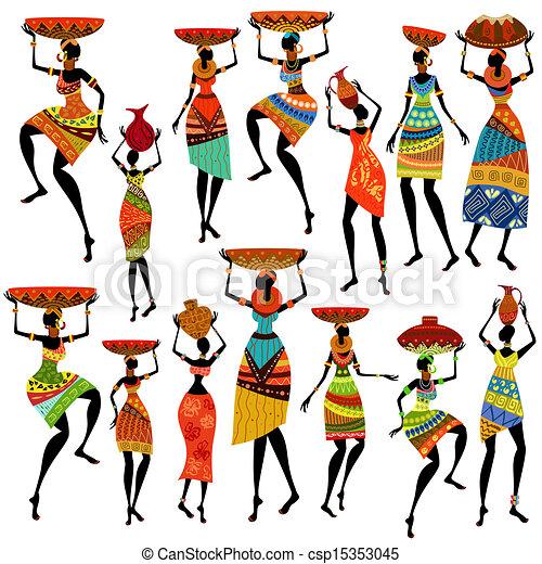 bonito, silhuetas, africano, mulheres - csp15353045
