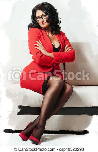 bonito, sofá, branca, mulher - csp40520298