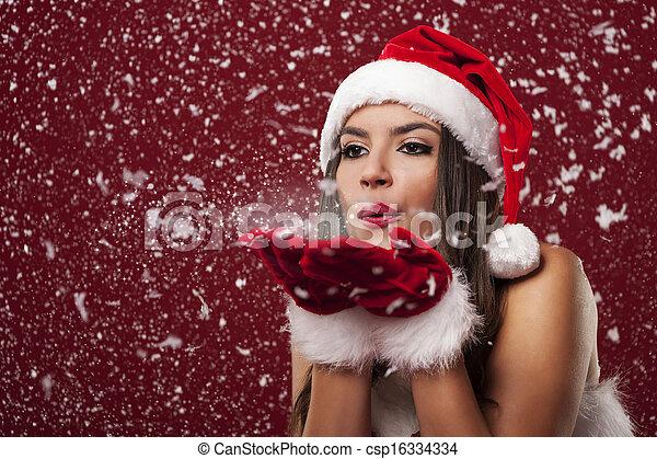 bonito, soprando, snowflakes, claus, mulher, santa - csp16334334