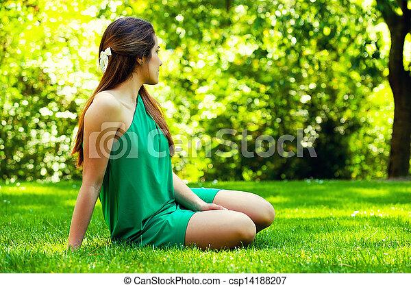 bonito, sorrindo, capim, sitted, adolescente - csp14188207