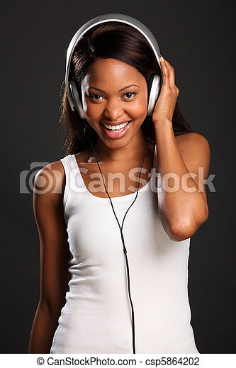 bonito, sorrizo, ventilador, música - csp5864202