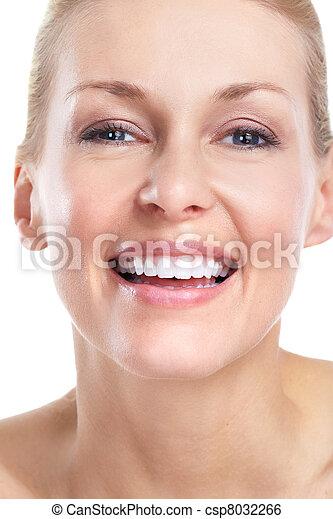 bonito, sorrizo, woman., teeth. - csp8032266