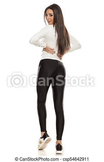 bonito, tights, mulher, pretas, jovem - csp54642911