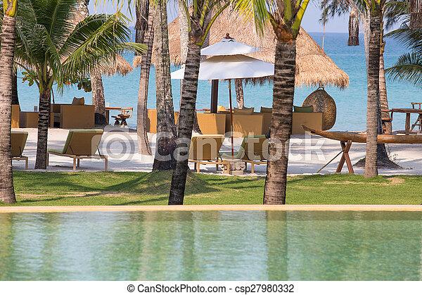 bonito, tropicais, mar, praia, piscina, natação - csp27980332
