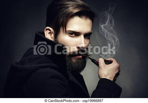 bonito, tube., fumaças, jovem, cima, escuro, artisticos, retrato, fim, man., homem - csp19966897